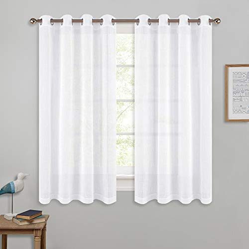 (PONY DANCE Bathroom Sheers Curtains - White Voile Linen Look Semi-Transparent Casual Top Grommet Silver Short Valances for Small Window Kitchen & Cafe, Wide 52 x Long 45 in, 2 Pieces)