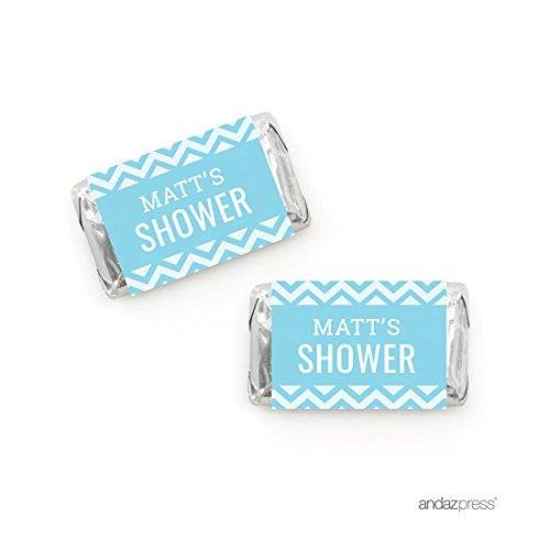 Andaz Press Baby Blue Chevron Boy Baby Shower Collection, Personalized Chocolate Mini Labels, 36-Pack, Fits Hershey