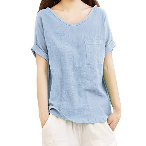 Aniywn Women Loose Cotton Linen Pocket Short Sleeve Pullover Tee Ladies Plus Size Tunic Henley Tops Blue