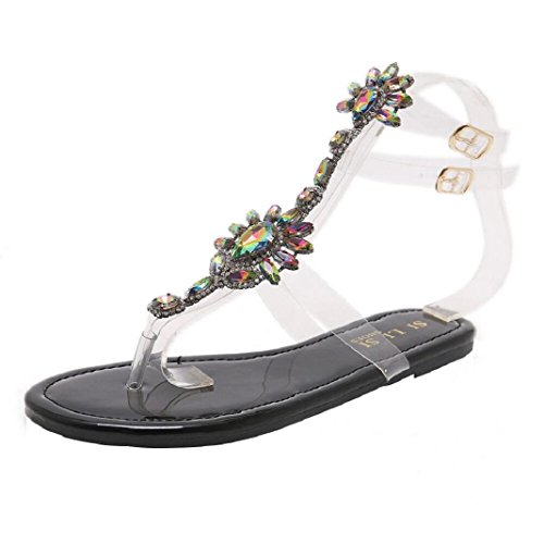 Diamond Womens Sandals - ShenPr Women Flat Crystal Sandals Rhinestone Diamond Shoes Bohemia T-Strap Sandals Peep-Toe Beach Sandals (9, Black)