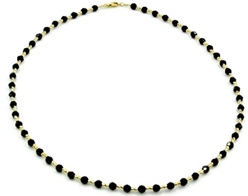 """Black Onyx 16"""" Necklace with 14k Yellow Gold Fancy Tubes"""