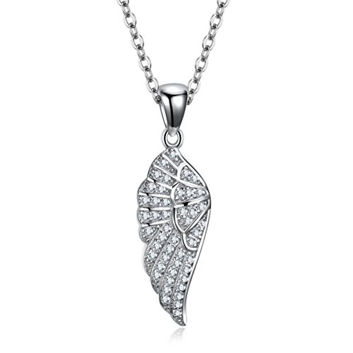 Necklace Sterling Silver 925 Cubic Zirconia Adjustable Cable Chain 16in+2in Extender (Angel Cubic Zirconia Pendants)