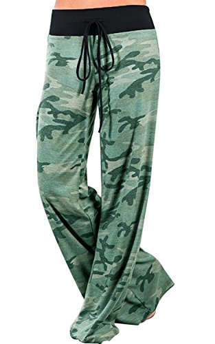NEWCOSPLAY Women's Comfy Pajama Pants Floral Print Drawstring Palazzo Lounge Wide Leg Pants (M, 10041-green ()