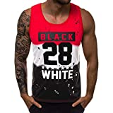 Forthery Men'S Letter Printed Deep Round Collar Tank Top Slim Fit Athletic Tee Shirt Workout Fitness Vest(Red,US Size S = Tag M)