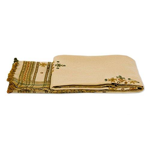 NOVICA Beige Decorative Throw Blanket, Alabaster - Mirror Alabaster