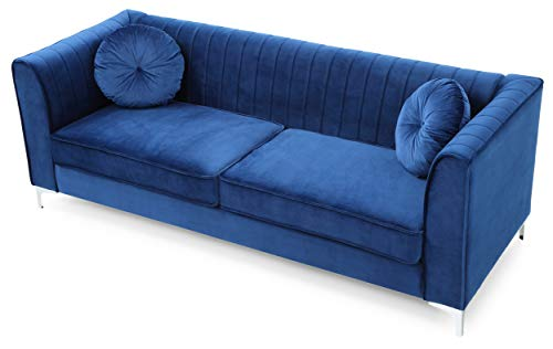Glory Furniture Delray Sofa, Navy Blue. Living Room Furniture, 3 Seater - Velvet- soft velvet fabric adds style and comfort to this stunning collection. Chrome legs- Top Quality chrome that resists fading and tarnishing adds a modern touch to this already beautiful piece. Throw pillows- plush round pillows are included with every Glory Furniture Delray Item for extra comfort. - sofas-couches, living-room-furniture, living-room - 41Ynr7K7LQL -