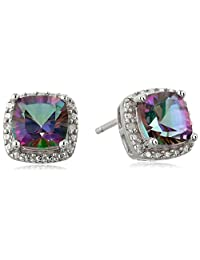 Sterling Silver Mystic Fire Topaz and Diamond Accented Cushion Stud Earrings