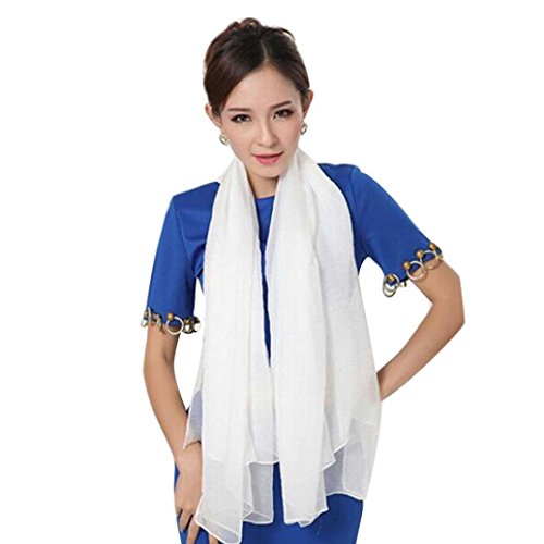 Elevin(TM) Women Colorful Vintage Flower Lace Gauze Veil Wrap Scarf Shawl Wrap (White) ()