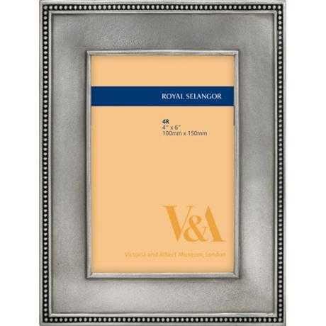 ロイヤルセランゴール ピューター フォトフレーム V&A ビーズ ポストカード サイズ B00WJC6QH8
