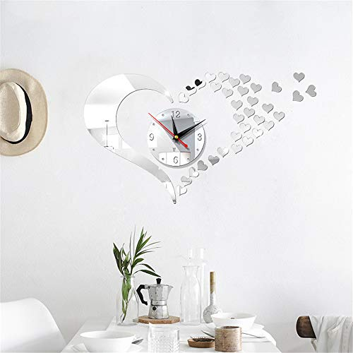 Fhing New Mirror Lovely Hearts Wall Art Clock Decal DIY Mirror Wall Watch Safe Novelty Home Decoration Kids Clocks Home Decor