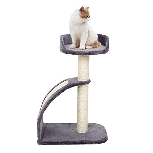 Speedy Pet Cat Tree Kitten Sisal Scratching Post and Pad, Cat Tower Climbing Toys Activity Tree with Perches Grey
