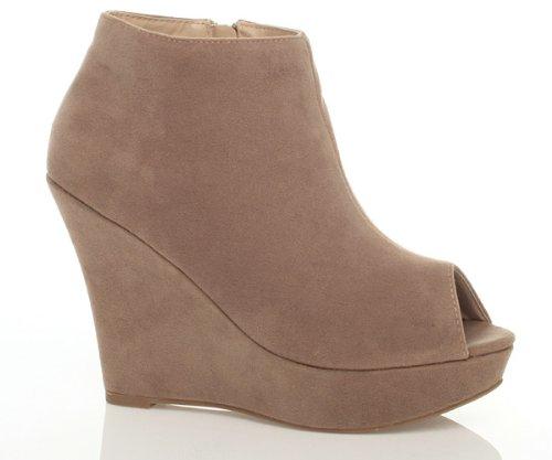 Ajvani Womens ladies platform wedge peep toe peeptoe ankle shoes boots booties size Taupe Beige Nude