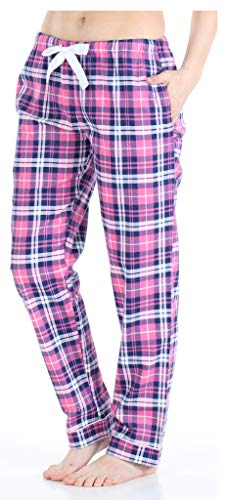 - PajamaMania Women's Cotton Flannel Pajama PJ Pants- Pink & Navy Plaid (PMF1001-2074-LRG)