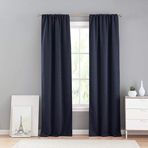 - Lala + Bash Davis Metallic Blackout Darkening Pole Top Window Curtains Pair Drapes for Bedroom, Living Room-Set of 2 Panels, 37