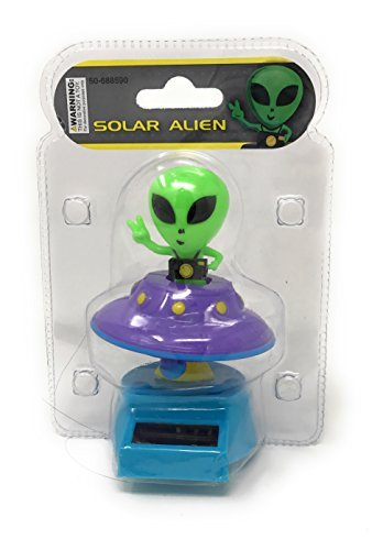 Solar Powered Dancing Alien (with his/her flying Saucer) Purple Color