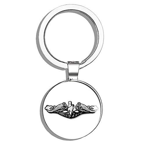 (HJ Media Submarine Warfare Dolphins Shaped (Navy Logo Insignia sub Naval) Metal Round Metal Key Chain Keychain Ring)