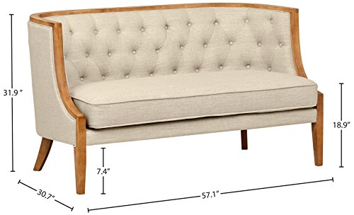 Stone & Beam Laurel Rounded Loveseat Sofa Settee Couch, 57.1W, Sand