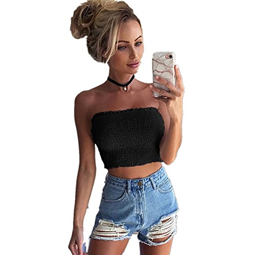 IEason Women Strapless Elastic Boob Bandeau Tube Tops Bra Lingerie Breast Wrap (XL=(US L), Black) (Seamless Bandeau Convertible)