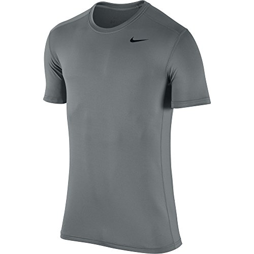 (NIKE Men's Base Layer Short Sleeve Crew Top, Cool Grey/Cool Grey/Black,)