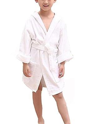 KM Child Pure Color Hooded Towel Cotton Bathrobe