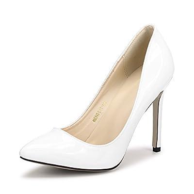 OCHENTA Women's Pointy Toe Slip On Stilettos High Heels Dress Pumps White Tag 40 - US B(M) 8