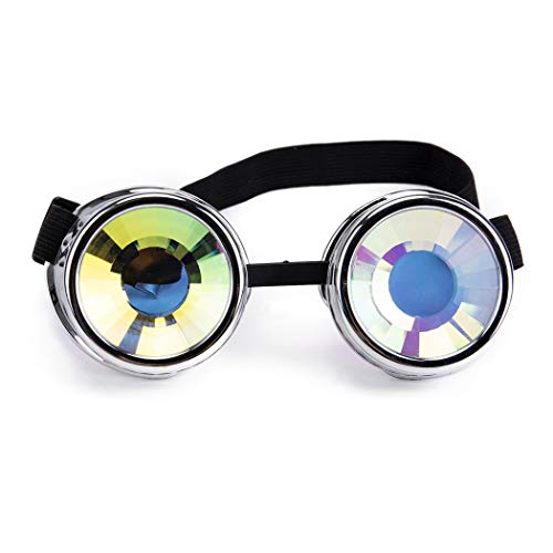 10c4cb028727 Festivals Kaleidoscope Rave Glasses Crystal Prism Sunglasses Steampunk  Goggles -