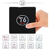 SIKAI T6 [Android 7.1] TV Box [Amlogic S905X] [Quan Core] [64-bit] [3D 4K HD] [2.0GHZ WiFi] [KODI 17.1] [2G RAM+ 16G ROM] [Cortex A53] [HDMI 1080P] [With Remote Control] [US Version] (2G+16G)