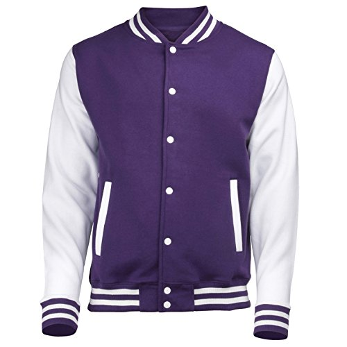 VARSITY COLLEGE JACKET (Purple / White) NEW PREMIUM Unisex ...