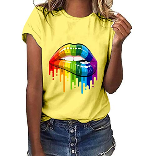 (Dressin Plus Size Women Lips Print Short Sleeve T-Shirt Tops Girls Ladies Summer Lose Casual Crew Neck Blouse Top Yellow)