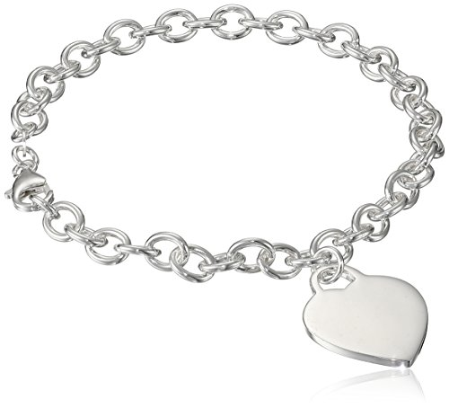 """Sterling Silver Charm Bracelet with Large Heart Charm, 9"""""""