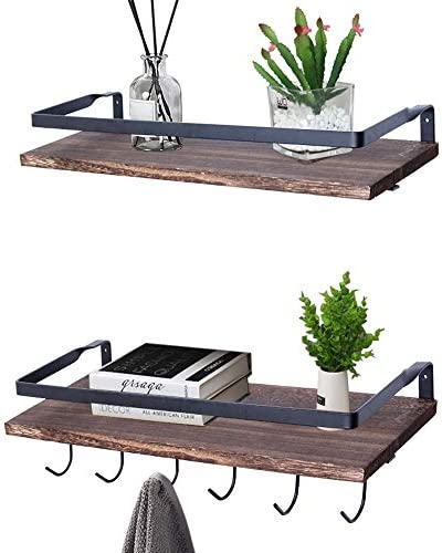 Kosiehouse Floating Shelves Wall Shelf, Rustic Wood Wall Mounted Decorative Shelves Storage Rack with Hook for Organizing Cooking Utensils or Mugs in Kitchen, Bathroom, Bedroom – Carbonized Gray