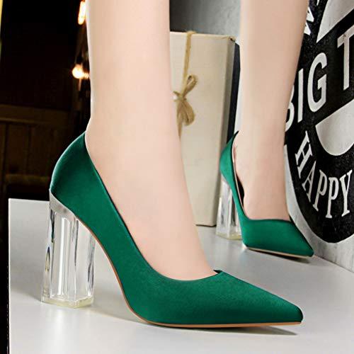 Chaussures Peu Les De Bureau Profonde Des High Bouche Souliers Femmes Vert A Talons Glissé Starttwin La Sur Chunky 71gxwpqqC