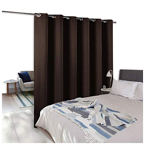 NICETOWN Room Divider Curtain Screen Partitions, Blackout Curtain for Patio Sliding Glass Door, Premium Heavyweight Blackout Curtain Panel for Shelves (One Panel, 10ft Wide x 8ft Long, Brown) ()