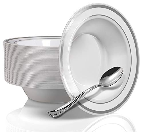 50 Silver Rim Plastic Bowls and Silver Plastic Spoons - Service for 50 Disposable 12 Ounce Silver Bowls and Spoons for Weddings, Parties, Catering and Everyday Use