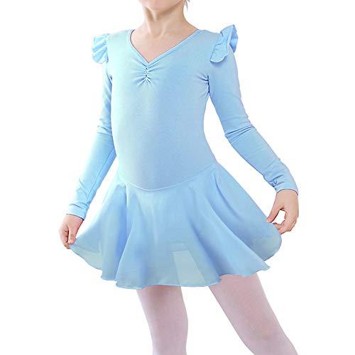 Girl's Skirted Dance Leotards for Ballet Tutu Dress Classic Ballerina Outfit B189_Blue_XXL