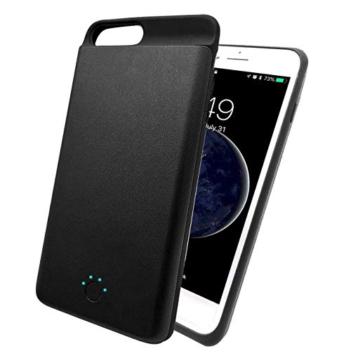 Battery Case for iPhone 6 Plus/6s Plus/7 Plus/8 Plus, 3700mAh Ultra Slim Portable Battery Power Charger Case, 5.5 Inch Rechargeable Protective Backup Charging Case (Black)