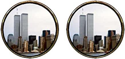 GiftJewelryShop Gold Plated New York Twin Towers Photo Stud Earrings 12mm Diameter