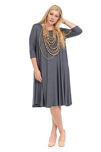 Pastel by Vivienne Women's A-Line Trapeze Midi Dress Plus Size XX-Large Cement -
