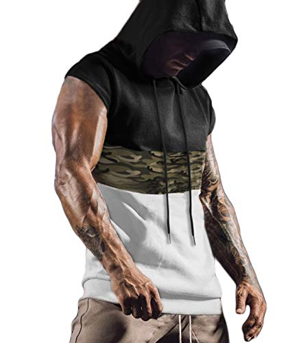 PJ PAUL JONES Mens Camouflage Workout Hooded Tank Tops Sleeveless Muscle T Shirt Gym Hoodies