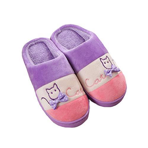 Purple Home Warm Cat JadeRich Soft Fleece Slippers Pattern Color Matching T0xOwq7Pz