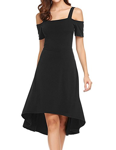Noir Womens High Patineuse Cocktail Ligne Off Low A Party Womens Robe Dromild RwPBZqU