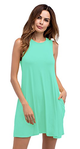 LouKeith Women's Plus Size Sleeveless Pockets Casual Swing T Shirt Tank Dress Mint 4XL