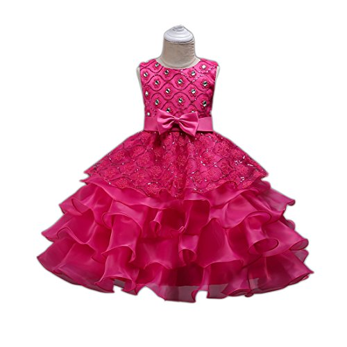 Little Toddler Girls Pageant Dresses Age of 7 Size 4 8 First Eastern 2-8T Princess Girls Pageant Party Tulle Lace Ruffle Dress Sleeveless Knee Wedding Kids Girl Dresses Size 8 Formal ( Rose 130 )