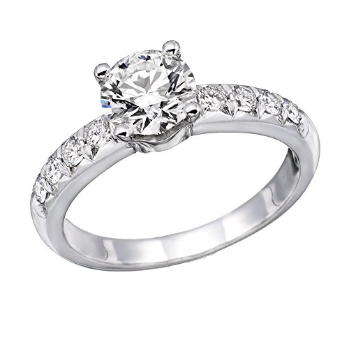 Brilliant Round Cut Diamond - 14K White Gold Brilliant Round Cut Diamond Engagement Ring (1.00 cttw, J-K Color, I1-I2 Clarity) - Size 4