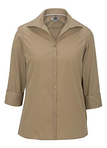 Ed Garments 5040 Women's Open Neck Poplin 3/4 Sleeve Blouse - Tan - (Poplin Short Sleeve Blouse)
