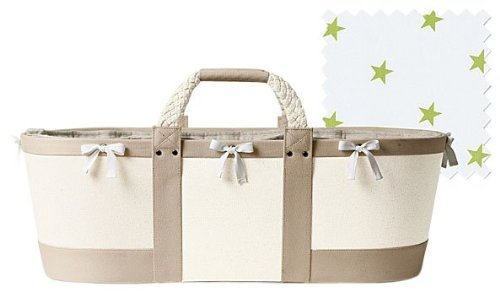 Serena & Lily Sausalito Moses Basket - Flax w/ Sprout Star Sheet
