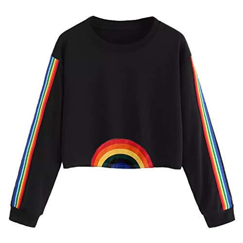 - Womens Rainbow Colorful Striped Crop Top Hoodie Halloween Long Sleeve Sweatshirt Pullover