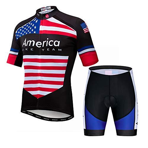 Cycling Jersey Set Men Short Sleeve MTB Bike Shirt Jacket Bicycle Clothing Padded Shorts US Flag America Size XXL