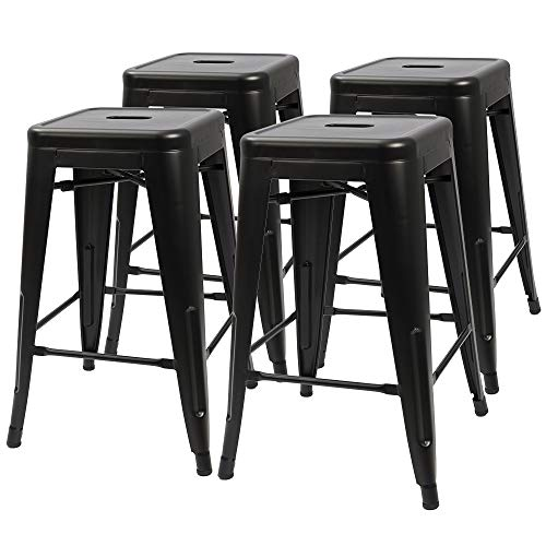 Height Material 6 - Furmax 24 Inches High Backless Black Metal Indoor-Outdoor Counter Height Stackable bar Stools Set of 4