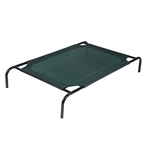Style Lounger (Derstadt Elevated Pet Bed Dog Cat Outdoor Indoor Camping Raised Cot Hammock New, (185gsm HDPE, Steel Frame,UV resistance,Medium,dark green))
